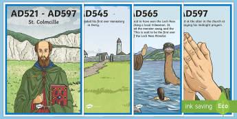 St. Colmcille Display Timeline-Irish - Ireland, The Land of Saints and Scholars,early christian Ireland,Irish saints, monastic Ireland, St.