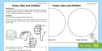 Taste Likes/Dislikes Activity Sheet - Amazing Fact Of The Day, activity sheets, powerpoint, starter, worksheet, morning activity, May, ton