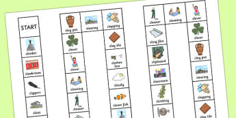 Two Syllable CL Board Game - two syllable, cl, board game, board, game, speech, language