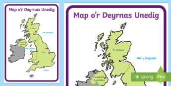 Map o'r Deyrnas Unedig  - Map o Brydain, Deyrnas Unedig, Cymru, Lloegr, yr alban, iwerddon,Welsh