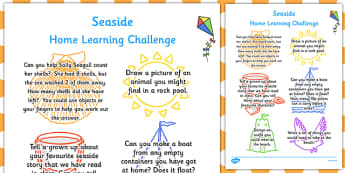 EYFS Seaside Themed Home Learning Challenge Sheet Reception FS2