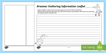 Braemar Gathering Design a Leaflet Activity Sheet - information, creating text, Highland Games, Functional Writing, Scottish, Scotland,Scottish
