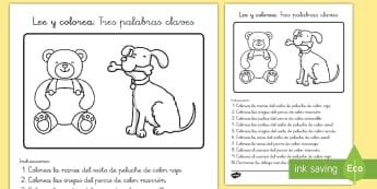 Ficha de actividad: Lee y colorea - Tres palabras claves - comprensión de textos, comprensión lectora, comprensión de lectura, NEE, leer, lee, lectura, colo