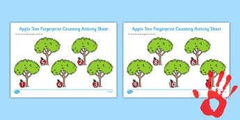 Apple Tree Fingerprint Counting Activity Sheet Pack - EYFS activities, number, EAD, plants, fruit, growth, worksheet