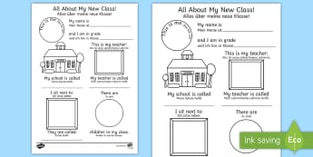 All About My New Class Activity Sheet English/German - ourselves, transition, write, back to school, new class, oursleves, ourselvs, trasition, bump up day