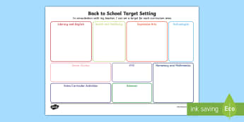 Back To School Target Setting Sheet - CfE, Back to School, First Level, New class, new school year, transition, getting to know you, first