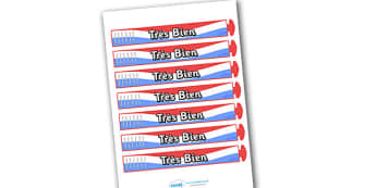 Wristband Awards (French) - French, francais, tres bien, well done, wristband, band, award, reward, award, certificate, medal, rewards, school reward, MFL, Modern Foreign Languages, foundation, languages