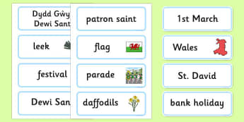 St David's Day Word Cards - Word card, flashcards, Dewi sant, St David, daffodil, Wales, cymru, leek, parade, patron saint