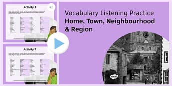 Home, Town, Neighbourhood & Region Vocabulary Listening Practice PowerPoint-French