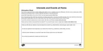 Interests and Events at Home Landscape Parent's Letter - In the Moment Planning, Anna Ephgrave, ITMP, information sharing, parents, carers, home information,