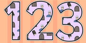 Elizabeth Fry Themed Display Numbers - elizabeth fry, display numbers, numbers, numbers for display, themed numbers, classroom display, display