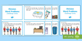 Division Word Problems Challenge Cards - ACMNA082,year 4 maths, problem solving, division challenge cards