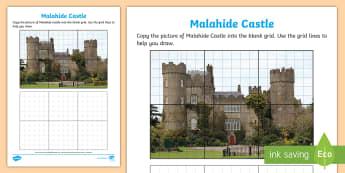Malahide Castle Art Activity Sheet - ROI - The World Around Us WAU,Irish, Worksheet