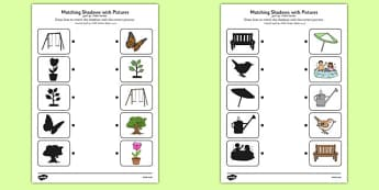 Garden Shadow Matching Worksheet Arabic Translation - arabic, garden, shadow matching, shadow, matching, outside