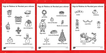 Hojas de colorear - Palabras de Navidad - spanish, christmas, words, colouring, sheets