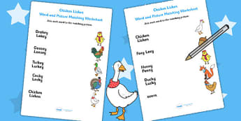 Chicken Licken Word and Picture Match - stories, story, matching