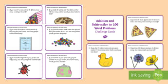 Addition and Subtraction to 100 Word Problem Challenge Cards - australia, maths, mathematics, numeracy, addition, add, adding, subtraction, subtract, subtracting,