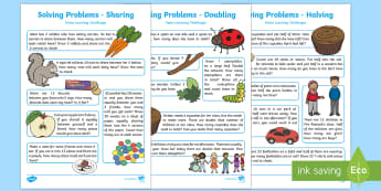 EYFS Maths: Solving Problems - Doubling, Halving and Sharing Home Learning Challenges  Activity Pack - Number, ELG, homework, mathematics, early years, EYFS Planning, Adult led