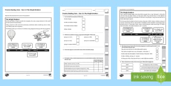 Practice Reading Tests Year 2 & 3 The Wright Brothers Activity Booklet - Procedural Examples, tests, test, Numeracy Tests, procedural,  Years 5, years 6, Deunyddiau Sampl Gw