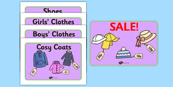 Clothes Shop Posters - Clothes shop Role Play, clothes shop resources, shop, till, buy, money, clothes, ourselves, shoes, role play, display, poster