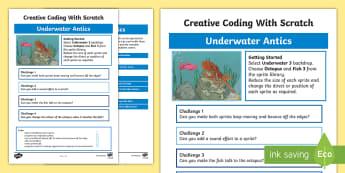 Underwater Antics Scratch Activity Sheet - worksheet, computing, programming, coding, algorithms, instructions, commands, Scratch