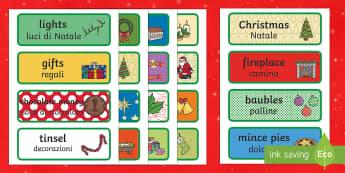 Decorative Christmas Word cards English/Italian - Decorative Christmas Word Cards - christmas, xmas, word cards , chritmas, chriatmas, christms, chris