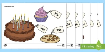 Priced Cakes Mixed to $2 Value Cut-Outs - f-2, kindergarten, year 1, year 2, using money, australian coins, shopping, financial mathematics,Au