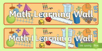 Math Learning Wall Display Banner -  mathematics display banner, math display banner, math banner, Mathdisplay banner, mathematics displ