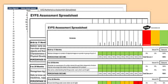EYFS Mathematics Assessment Spreadsheet - EYFS, Early Years, Assessment, Maths, Number, Shape, Shape and Measure, Tracking Sheets