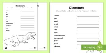 Dinosaurs Word Unscramble - Vocabulary Development, anagrams, scramble, spelling, keywords