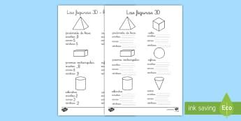 Ficha de actividad: Figuras 3D - figuras 3D, cuerpos geométricos, mates, matemáticas, geometría, cuerpos con volumen, aristas, vé