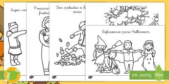 Hojas de colorear: Actividades de otoño - pintar, estaciones, colorea, colores, acciones, ,Spanish