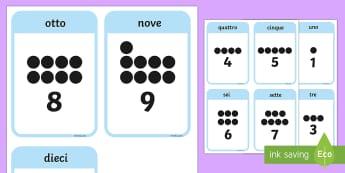 Numeri da 0-10 Flashcards - numeri, matematica, 0, 10, italiano, italian