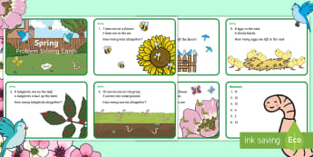 Spring Maths Challenge Cards - NI, Spring, addition, subtraction, bird, worm, egg