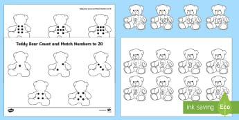 Teddy Bear Count and Match Numbers to 20 Activity Sheet - EYFS, Number, ELG, mathematics, early years,  activities, maths, small group work, Worksheet, interv