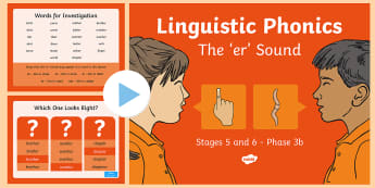 Linguistic Phonics Stage 5 and 6 Phase 3b, 'er' Sound PowerPoint
