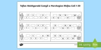 Taflen Weithgaredd Cestyll a Marchogion Rhifau Coll 1-20 - castell, cestyll, rhifau coll, trefnu rhifau, rhifedd, Welsh