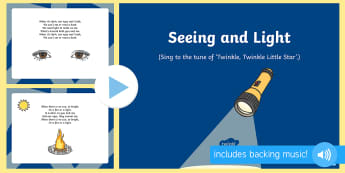Seeing and Light Song PowerPoint - Light and Dark, eyes, light source, song, singing, music, sun, fire, torch, look, see, dark, light,
