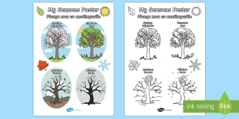 My Seasons Poster English/Romanian - My Seasons Poster - Seasons, season, autumn, winter, spring, summer, fall, seasons activity, seasons