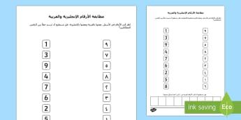 نشاط مطابقة الأرقام العربية والإنجليزية - أعداد، أرقام، حساب، عربي، رياضيات، العدد، الرقم، الأع