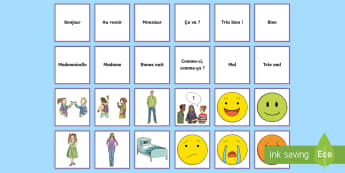 Greetings Snap Card French Game - KS2, French, Resources,game, greetings, snap, cards, hello, bye, paire