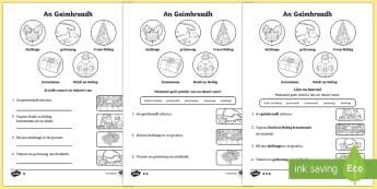 An Geimhreadh 1st and 2nd Class Differentiated Reading Comprehension Activity Gaeilge - Differentiated Winter in Ireland Comprehensions ROI, geimhreadh, gráinneog, duilleoga, sneachta, no