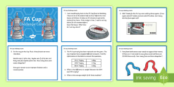 KS2 FA Cup Maths Challenge Cards - KS2 Football Resources, Upper Key Stage Two, Upper Key Stage 2, UKS2, Y5 and Y6, Lower Key Stage Two