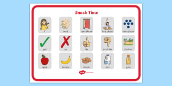 Snack Time Communication Board - ASD, autism, early years, low functioning, PECS, communication board, functional communication