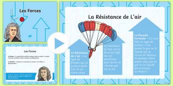PowerPoint sur les différents types de forces - Sciences, forces, newton, poids, masse, résistance, aimant, air, friction,French