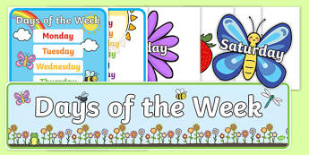 Days of the Week Display Pack