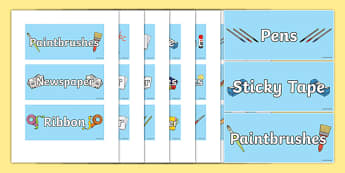 Classroom Equipment Large Tray Labels - classroom, equipment, tray, labels, display
