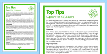 Top Tips to Support Y6 Leavers Top Tips