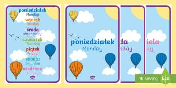 Days of the Week A4 Display Posters Polish/English - Language Packs,-translation, polish, week, posters, days