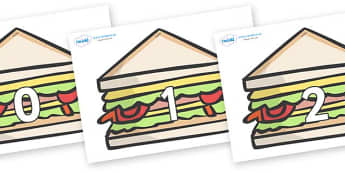 Numbers 0-100 on Sandwiches to Support Teaching on The Lighthouse Keeper's Lunch - 0-100, foundation stage numeracy, Number recognition, Number flashcards, counting, number frieze, Display numbers, number posters